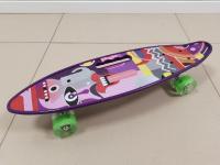 Пенниборд 60х16 см фиолетовая дека со светящимися колесами и ручкой