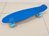 Пенниборд 55х15 см синяя дека со светящимися колесами