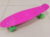 Пенниборд 55х15 см розовая дека со светящимися колесами