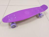 Пенниборд 55х15 см фиолетовая дека со светящимися колесами