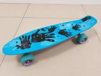 Пенниборд с принтом 55х15 см синяя дека с бесшумными колесами