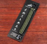 Браслет для выживания 3в1 (паракорд, свисток, огниво), тёмно-зелёный, 25.5 × 2.5 см