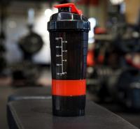 Шейкер 500 мл, с пружинкой, запирающаяся петля, с отсеками, 11х26.5 см