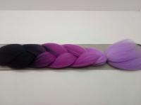 Косы канекалон трёхцветные (чёрный/ фиолетовый/ св.фиолетовый)