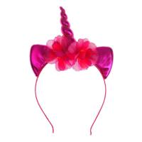Карнавальный ободок «Единорог», с цветочками, цвет фуксия