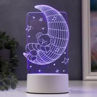 "Светильник ""Мишка на месяце"" LED RGB от сети 9,5х10,5х20см"