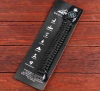 Браслет паракорд черный для выживания, с компасом и фонариком 24*2 см