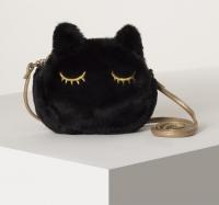 Сумочка детская меховая «Чёрная кошка», 15х12 см, черная