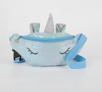 Сумка поясная детская, отдел на молнии, цвет голубой, «Волшебный единорог»