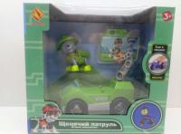 Щенок-спасатель на машине, зеленый, с голограф. картинкой