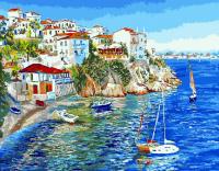 Картины по номерам 40х50 Белые домики Греции (GX 9627)