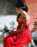 Картины по номерам 40х50 Брюнетка в красном платье