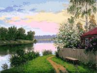 Картины по номерам 40х50 Деревня у реки. Утро