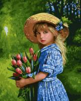 Картины по номерам 40х50 Девочка с тюльпанами