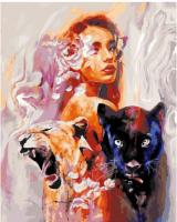 Картины по номерам 40х50 Девушка и дикие кошки