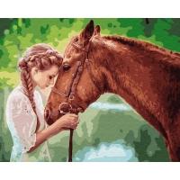 Картина по номерам 40х50 см Девушка и лошадь