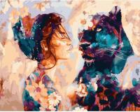 Картины по номерам 40х50 Девушка и пантера