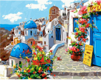 Картины по номерам 40х50 Голубые крыши Санторини