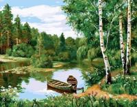 Картины по номерам 40х50 Лодки в озере