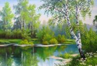 Картины по номерам 40х50 Береза у реки