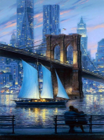 Картины по номерам 40х50 Ночной Нью-Йорк