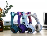 Беспроводные наушники с ушками Cat Ear JR-028 голубые