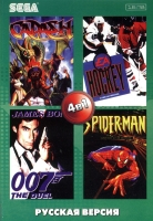 Картридж аналог сега 4в1  AA-4127(RU)  CADCSH/HOCKEY /JAMES BOND: THE DUEL /SPIDER-MAN
