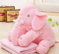 Мягкая игрушка с пледом Слон (розовый)