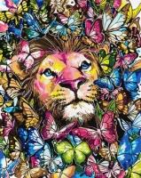 Картины по номерам 40х50 Лев в бабочках
