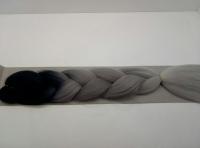 Косы канекалон трёхцветные (чёрный/ т.серый/ серый)