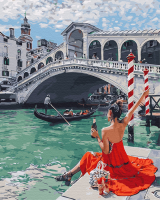 Картины по номерам 40х50 Одинокая брюнетка в Венеции