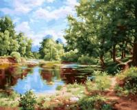 Картины по номерам 40х50 Пейзаж у пруда (GX 24372)