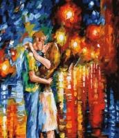 Картины по номерам 40х50 Поцелуй в ночных огнях
