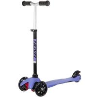 Самокат мини Novatrack Disco-kids Basic, свет.колеса PU пер.120*24  задн.76*24мм,  эргон, черно-фиолетовый