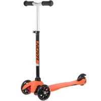 Самокат мини Novatrack Disco-kids Basic, свет.колеса PU пер.120*24  задн.76*24мм,  эргон, черно-оранжевый