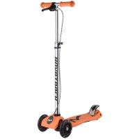 Самокат макси Novatrack RainBow, подростковый, ручной тормоз, свет.колеса,max 60кг, оранжевый