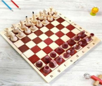 Шахматы 30х30 см: деревянная доска; деревянные фигуры не лакированные