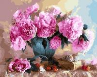 Картины по номерам 40х50 Шикарные розовые пионы