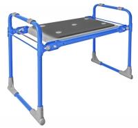 Скамейка-перевертыш садовая, с мягким сиденьем, складная, голубой каркас