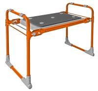 Скамейка-перевертыш садовая, с мягким сиденьем, складная, оранжевый каркас