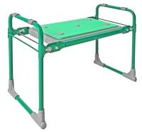 Скамейка-перевертыш садовая, с мягким сиденьем, складная, зеленый каркас