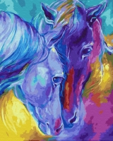 Картина по номерам 40х50 см Цветные лошади