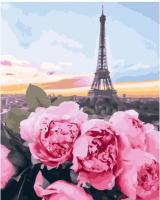 Картины по номерам 40х50 Цветы и Париж