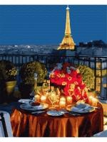 Картины по номерам 40х50 Ужин при свечах в Париже