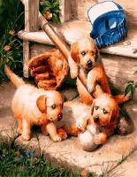 Картина по номерам 40х50 Веселые щенки