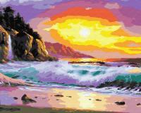 Картины по номерам 40х50 Волны на закате