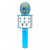 Беспроводной караоке-микрофон WS-858 бирюзовый, смена голоса