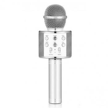 Беспроводной караоке-микрофон WS-858 серебро, смена голоса