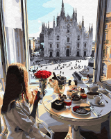 Картины по номерам 40х50 Завтрак с видом на Миланский собор