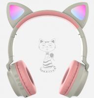 Беспроводные наушники Wireless Headphones Cat Ear бежево-розовые